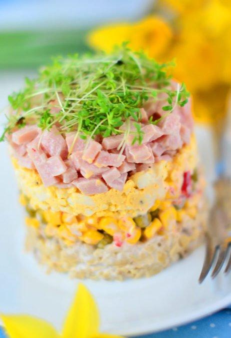 Слоистый салат с кресс