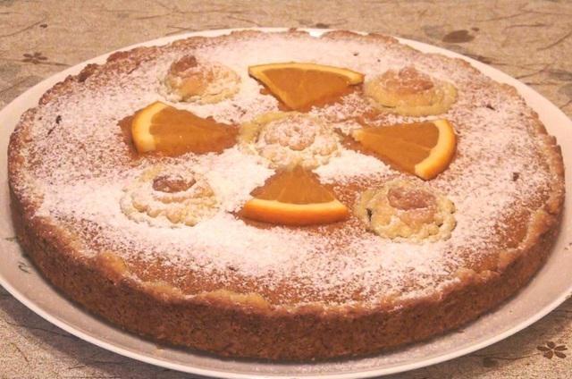 Песочный пирог с творожно-тыквенным суфле