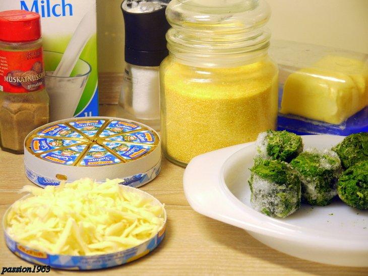 Кнедли из поленты со шпинатом и сыром