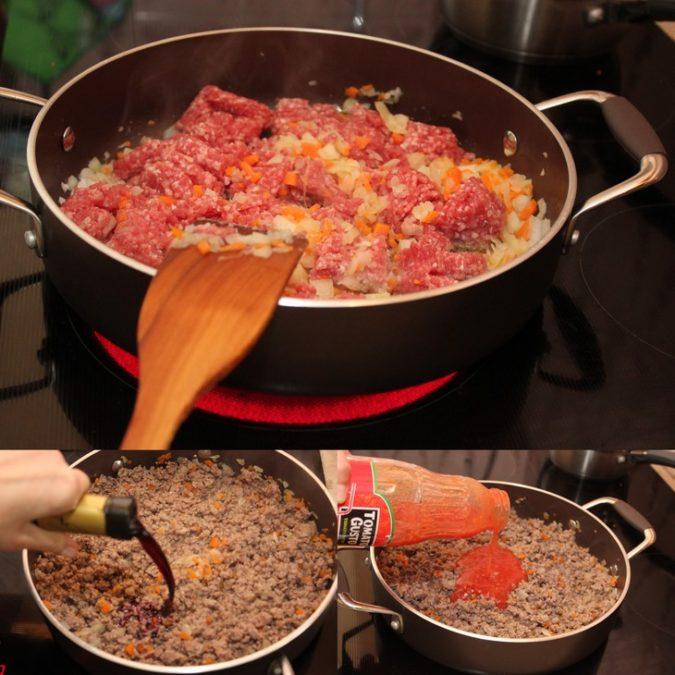 Лазанья с мясным соусом и томатами