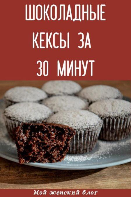 Шоколадные кексы за 30 минут