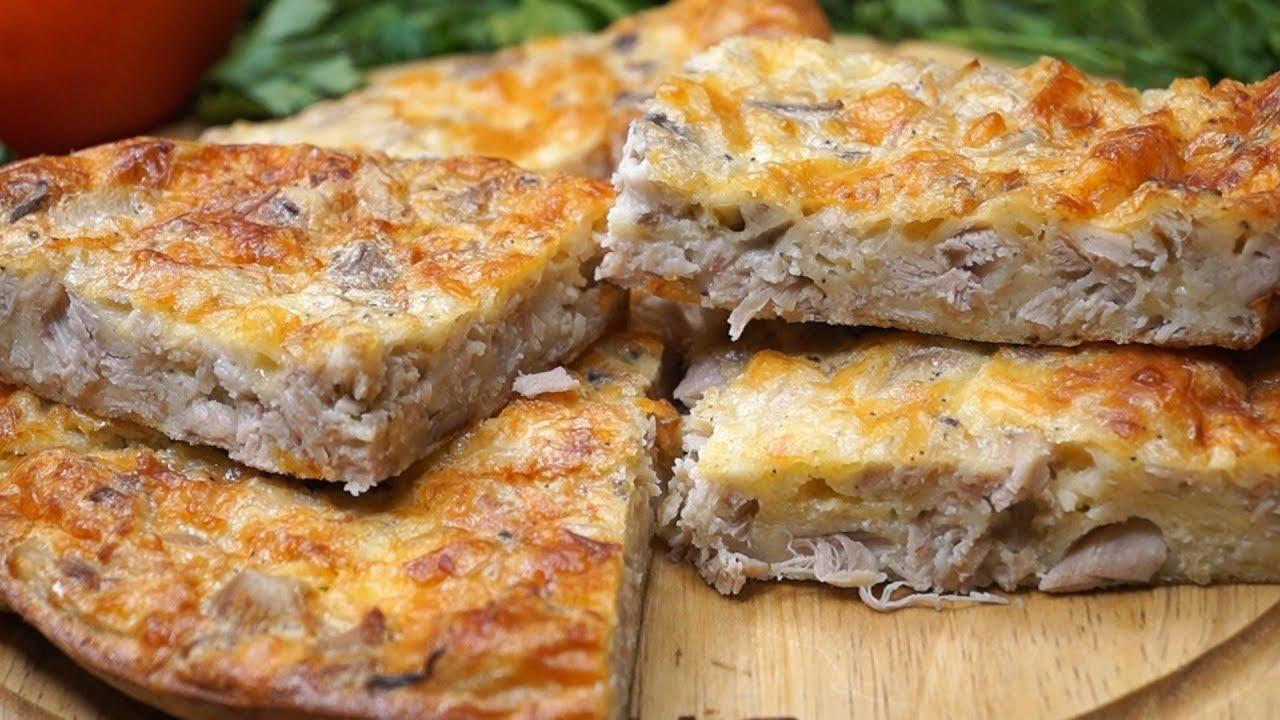 Простая мясная запеканка-пирог с сыром