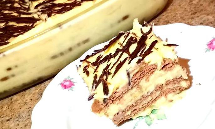 Бесподобно нежный тортик без запекания из печенья с бананом