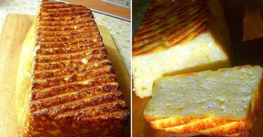 Мягенький пирог-запеканка из творога и манки