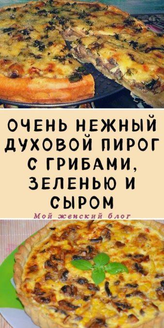 Очень нежный духовой пирог с грибами, зеленью и сыром